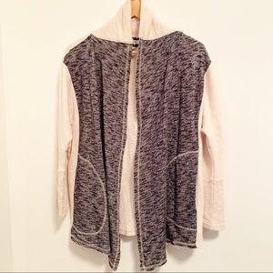 COMME TOI Cream/Blue Sweatshirt Open Cardigan